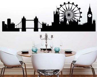 London Skyline 3 Bedroom Kitchen Dining Living Room Wall Art Sticker Picture Decal