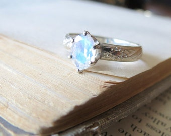 Rainbow Moonstone Engagement Ring Solitaire Ring Sterling Silver Ring Faceted Moonstone Ring Alternative Engagement Blue Moonstone