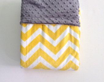 Yellow Chevron Blanket,Chevron Minky  Blanket, Minky Adult Blanket Couch Blanket,Men's Blanket, Dorm Blanket, Adult Minky Throw  50 x 60