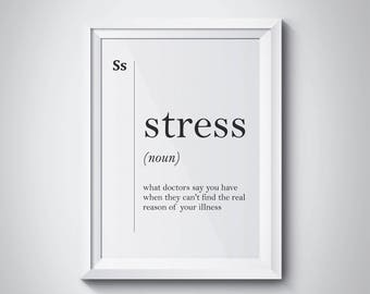 minimalist office. Stress Funny Definition Print, Gift For Doctor, Hospital Wall Art, Print Minimalist Office O