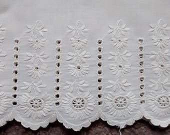 Antique Embroidered Eyelet Cotton Lace Trim, Flounce, Salvage, 54""