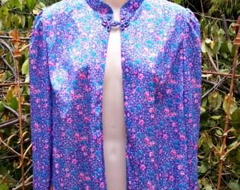 70s vintage floral long sleeve blouse, 1970s polyester bolero mandarin nehru collar, 60s purple housewife open front blouse, single button
