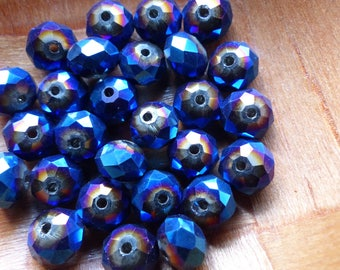 20 bead 6 X 8 mm faceted blue AB flat glass, donut
