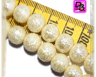 Pearly speckled 10mm [Ivory] x 6 round glass beads