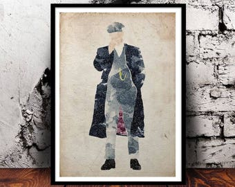 Peaky Blinders Tommy Shelby Watercolour wall art A4 print BBC TV show gift for him gift for her home decor Birmingham gangster
