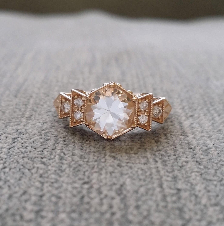 antique diamond white sapphire engagement ring yellow gold