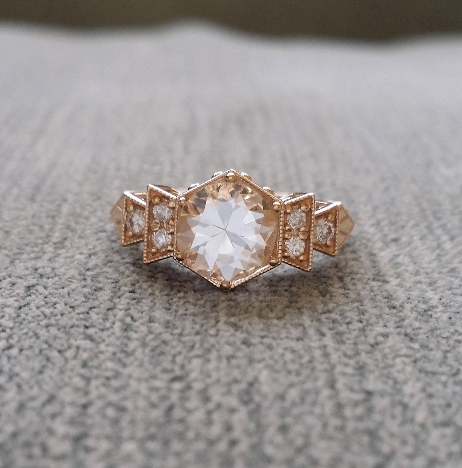 earth engagement ring white delicate antique gold vintage scroll brilliant diamond princess rings