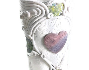 White cylinder vase with hearts polymer clay unique art home decor