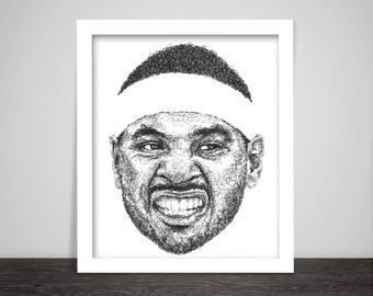 Scribbled Carmelo Anthony - Poster