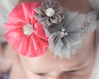 Hot Pink flower headband, grey elastic headband, gray headband, baby headband, flower girl headband, cake smash outfit, girl birthday gift