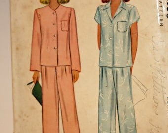 """Vintage, 1940s, Sewing Pattern, McCall 5450, Misses' Two-Piece Pajamas, Misses' Size 14, Bust 32"""", OLD2NEWMEMORIES"""