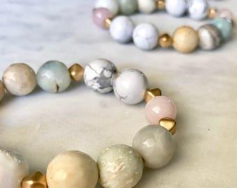 Amazonite, howlite, and rose quartz bracelet