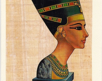 Nefertiti Genuine Egyptian Papyrus Note Cards! Beautiful in design. Unique way to send a note. Suitable for framing too!