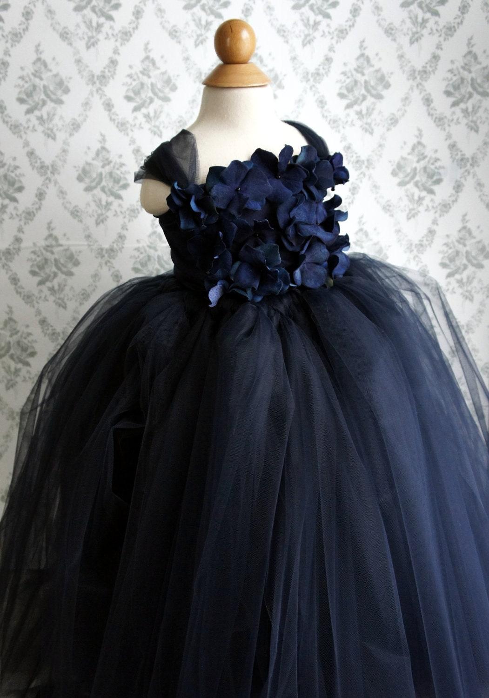 Flower girl dress navy blue tutu dress girls dress flower zoom izmirmasajfo Gallery