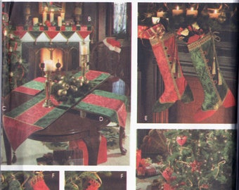 Vintage 1990's Christmas Package Sewing Pattern Simplicity 9748 UNCUT Donna Lang Treeskirt Stocking Table Runner Mantel Scarf Place Mat
