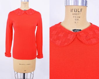 """ANNIVERSARY SALE // 1970s mod top   red lace peter pan collar long sleeve top   vintage 70s top   W 30"""""""