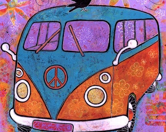 Colorful Art Hippy Bus - Camper Van with Raven Canvas Print titled Flower Power. Travel Bus Print.