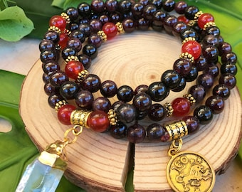 LEO Zodiac Mala Beads | 108 Bead Mala for July August Birthday Gift | Meditation Yoga Beads, Prayer Beads, 108 Mala Necklace, Garnet Mala
