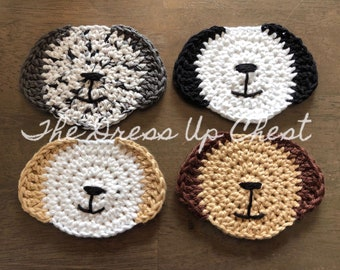 Dog face coasters- set of 4 crochet puppy coasters- free shipping