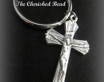 Silver Catholic Crucifix Keychain
