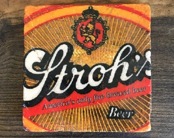 Stroh's Fire-Brewed Beer, Detroit, USA Coaster with cork backing