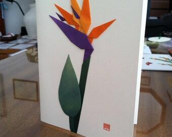 Handmade Origami Bird of Paradise Greeting Card