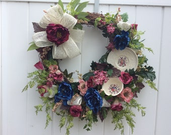 Teacup Floral Wreath, Mother's DayFlowers, Front Door Wreath, Victorian Flower Wreath, Spring Wreath, Door Decoration,  Made in Canada