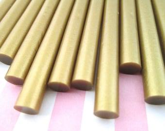 10 Piece Gold Metallic Hot Glue Sticks for Kawaii and Decoden, Wax Seals, Etc.