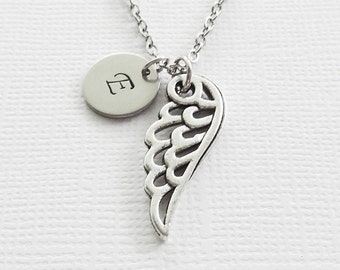 Angel Wing Necklace, Wing Necklace, Christian Jewelry, Best Friend Gift, Silver Jewelry, Personalized, Monogram, Hand Stamped Letter Initial