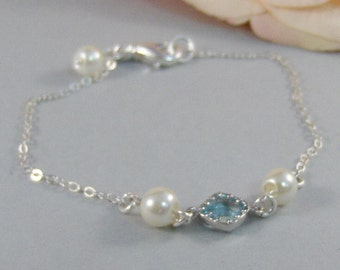 Clearwater,Bracelet,Silver,Silver Bracelet,Aquamarine,Sterling Silver,Pearl,Blue,Bride,Wedding. Handmade jewelry by valleygirldesigns.