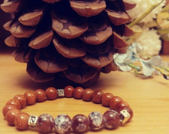 Handmade Glittery Beaded Bracelet with Flowered Pattern Beads