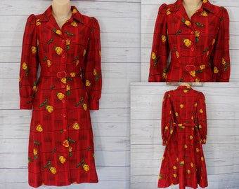 Vintage 60s 70s Belted Shirt Dress/ Button Down Dress / Red Yellow/ Rose Print/ matching belt Polyester - sz M or L
