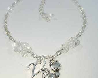 Vixen Hotwife Anklet, Initial Jewelry, Quartz Crystals Personalized Jewelry, Sexy Anklets, Swinger Jewelry, Kinky