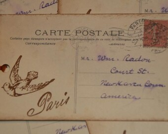 Paris French Carte Postale Vintage Post Card Hang Gift Tags