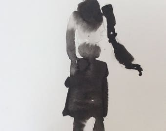Original art ink brush drawing painting Shadow Figure