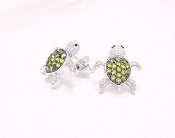 Green Turtle Stud Earrings, CZ Turtle Earrings, Silver Animal Studs, Turtle Jewelry, Turtle Earring Studs, Silver Turtles, Sea Turtle Studs