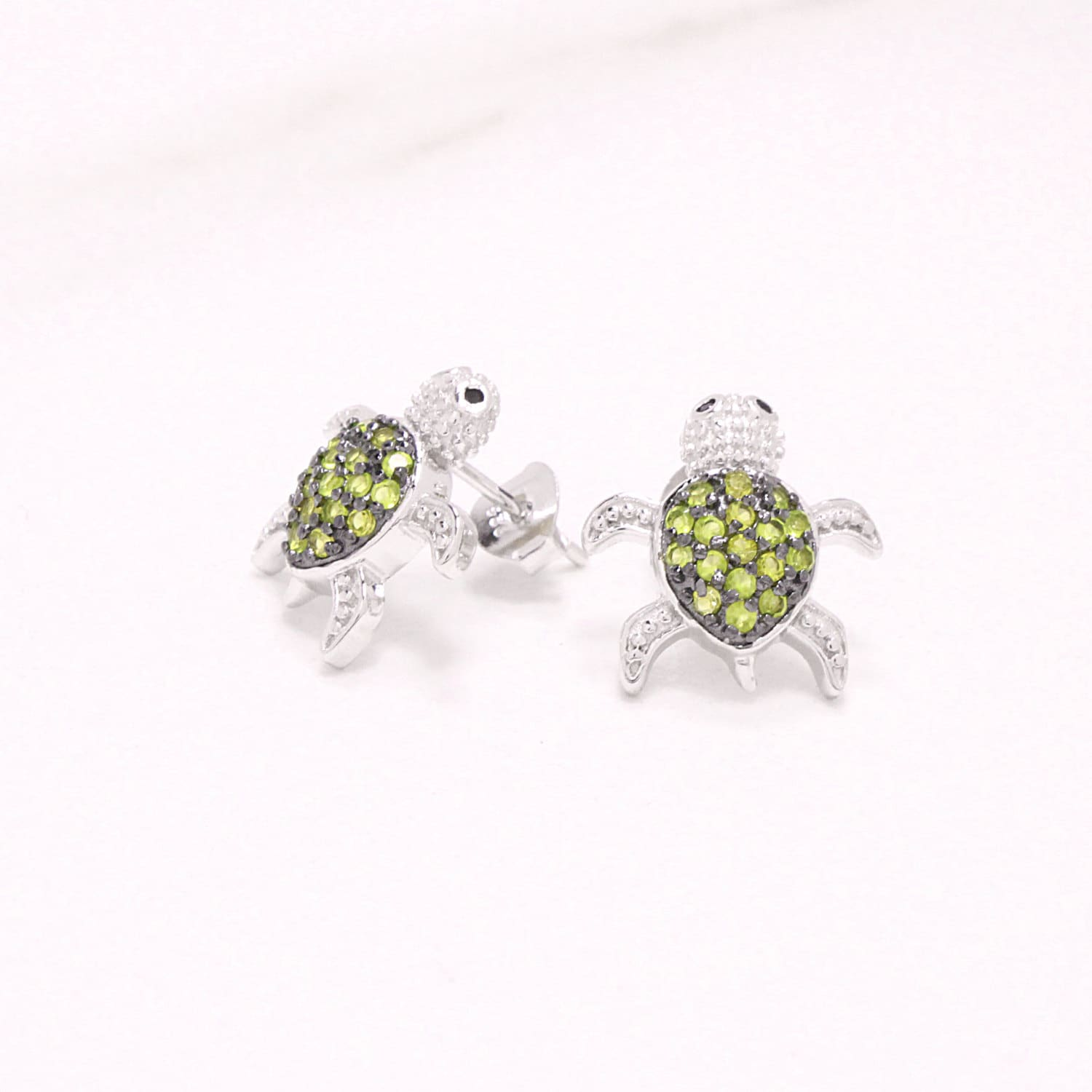 silver abalone turtle stud itm sea natural earrings sterling green inlay shell