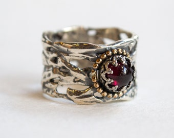 Braided silver ring, wide silver ring, silver ring, garnet band, red ring, unique silver engagement ring, gypsy ring - On That Day R2257