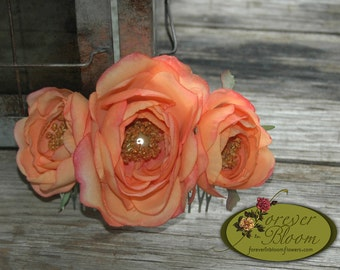 Real Touch Flower Hair Comb / Real Touch Floral Hair Comb / Silk Flower Hair Comb / Orange Flower Comb / Orange Floral Comb / Rose Hair Comb