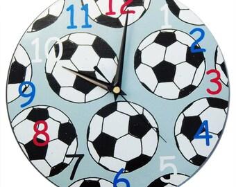 Soccer / Football Clock - Childrens Clock / Boys Wall Clock