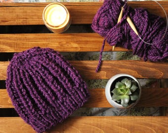 Handmade Knit Adult Hat or Beanie Soft and Warm in a Beautiful Blended Purple Color
