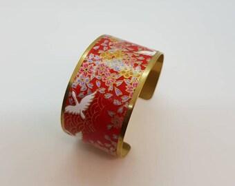 Patterns embossed brass Cuff Bracelet