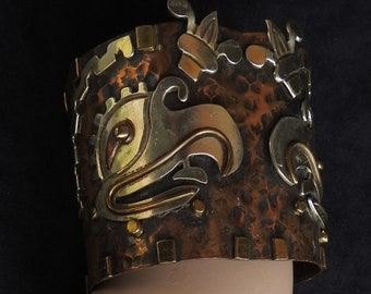 Vintage Casa Maya Hubert Harmon Mexico Mixed Metal Copper & Silver Aztec Mayan Cuauhtli Eagle with Xochitl Flowers Chunky Wide Cuff Bracelet