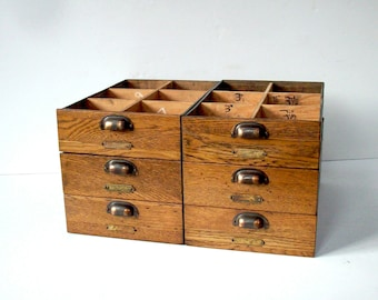 Vintage Divided Wood Drawers with Handles and Label Holder Hardware / Storage Organization / Set of 6 Drawers / Oak Galvanized Metal & Divided drawers | Etsy