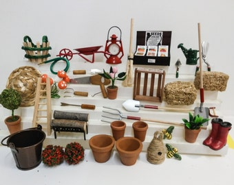 Garden Tools and Accessories Miniatures Assortment For Fairy Garden Or Dollhouse