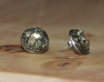 Raw Pyrite Earring Studs Bohemian Jewelry Pyrite Stud Earrings Raw Stones Artisan Earrings Simple Eaveryday Studs Gemstone Earrings Nuggets