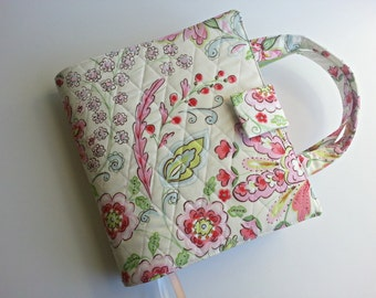 Quilted Bible Cover in Pretty Little Things Emma Floral with optional handles Custom made to fit your Bible
