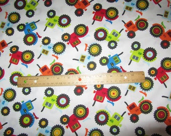 White with Multicolored Tractors Cotton Fabric by the Yard