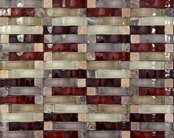 "Crystal Mosaic Tile Arched Kitchen Backsplash Bridge Patterns Multi-colors Glass and Stone Mosaic Wall Tiles (6 PCS, 11.8""x11.8"" /each)"