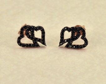 Silver 925 earrings rose gold color with black zircon heart motif